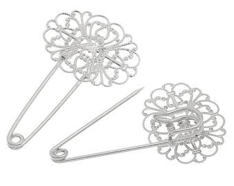 2 brooch pins crafted flower stands 5.7 cm x3.4cm oval