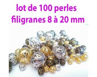 set of 100 8-20 mm filigree beads