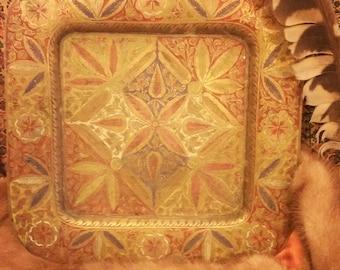 Decorative Brass Floral Plate
