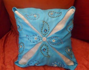 blue silk and velvet cushion
