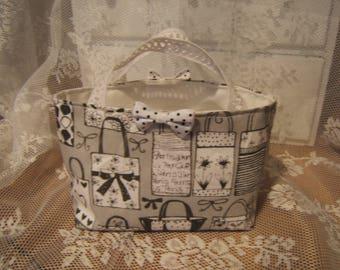 Charming small empty pockets Shabby chic fabric handbag gray pattern small bags