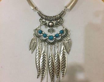 Delicate Design Golden Silver Tone Alloy Leaves Tassels Choker Collar Necklace