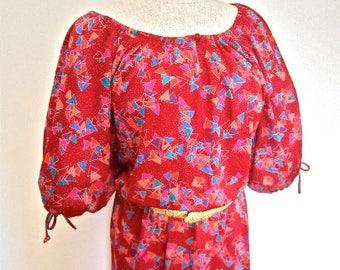 L - XL 70s 80s Red Geometric Print Dress Peasant Disco Poly Dancing Studio 54 New Wave Office Secretary Large Extra