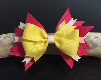 Large Pink and Yellow Girl's Hair Bow - Large Bow, Girls Bows, Summer Bow, Girls Bows, Uniform Bows, School Bows, Spring, Easter