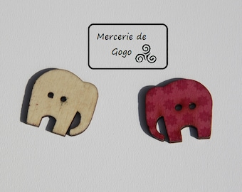 """Animal """"elephant"""" with 2 holes wooden buttons."""
