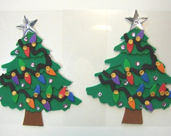 Set of 2 foam stickers Christmas decorations. 2 trees.