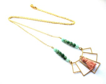 Long geometric pendant and tassel necklace