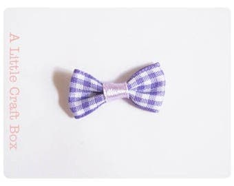 8 knots Plaid / gingham fabric - purple and white