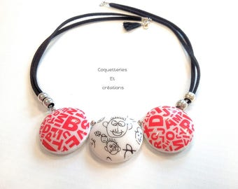 Polymer clay necklace, lenses screen printed in Silkscreen Moiko red and white