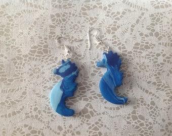 Seahorse earrings shade of blue