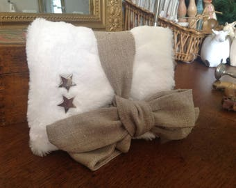 White fur and linen string pouch
