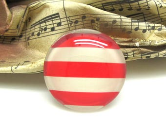 2 cabochons 16 mm glass red striped sailor spirit - 16 mm