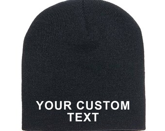 Customized Knit Beanie  / Skull Beanie / Gym Apparel / Embroidered Beanie Cap / Personalized Embroidery / Your Custom Apparel / No Cuff