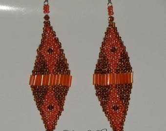 Brown & coral seed beads earrings