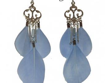 Blue lavender feather hoop earrings