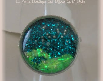 Round ring resin green glitter 2 tone