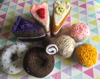 Knitted cakes, cake slices, buns, donuts, hand knitted