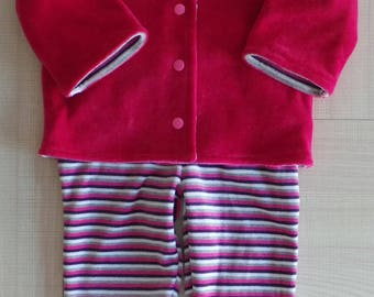 set of 6 months jacket and pants with feet fuchsia