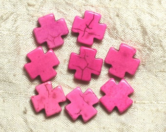Wire 25pc approx 39cm - cross neon pink 15mm synthetic Turquoise stone beads