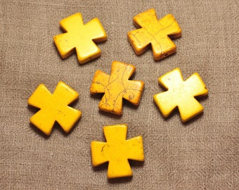 Wire 14pc approx 39cm - synthesis cross 25mm yellow Turquoise stone beads