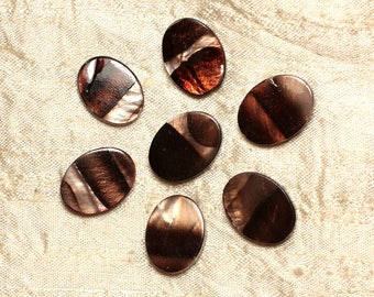 5pc - Brown Zebra 4558550031365 20x15mm oval pearl beads