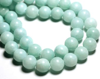 10pc - beads - Jade balls 10mm light Turquoise Pastel Green - 4558550006530