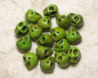 10pc - beads skulls Turquoise 14mm Green 4558550030290 skulls
