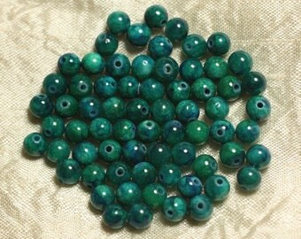 20pc - stone beads - Jade green and blue balls 6mm 4558550025050
