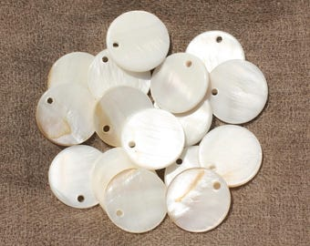 10pc - charms pendants 20mm - 4558550020130 round white mother of pearl beads