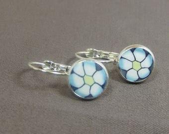 Sky blue earrings silver plated stud earring