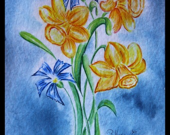 Original illustration painted in watercolor on paper ARCHES 300 g/m²jonquilles & blueberries