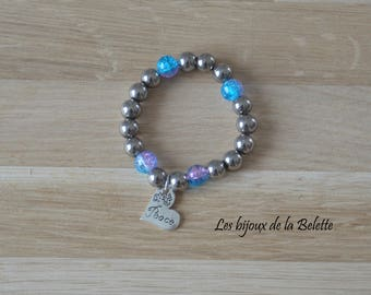 """Bracelet glass beads in pink/blue and silver """"peace"""" heart charm"""