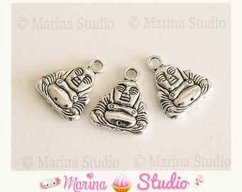 2 charms 20x17mm silver Buddha