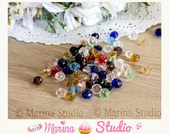 100 faceted beads 6mm Crystal quartz Ms05112 mixed color glass