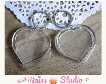 4 heart Keyring with acrylic Transparent 7.8 cm x 5.0 cm MS46981 photo frame