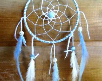 Dream catcher light blue and white / actual 30 cm