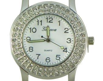 Geneva Round Solid Bar 2 Row CZ Ribbon Watch Face - Silver - 40mm