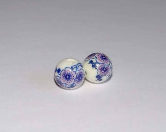 beads round 12mm set of 2 floral pattern