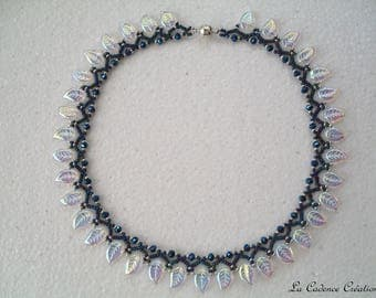 Pearl necklace, glass and seed beads leaves