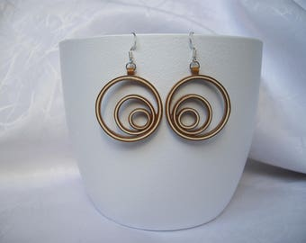 Quilling earrings, paper, 3 circles, modern creole