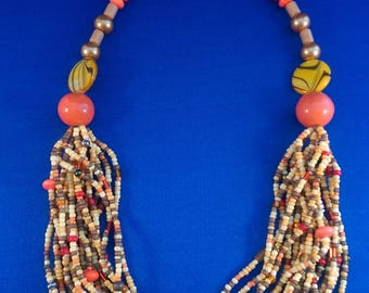 Fall colors Beaded Necklace, Indian Corn Texture, Harvest Colors, Multi- color, Thanksgiving