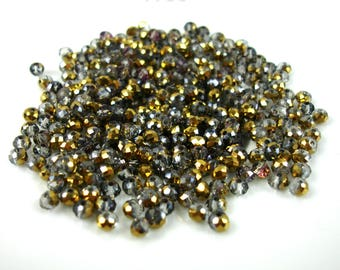 50 silver 4 x 3 mm metallic faceted two tone gold