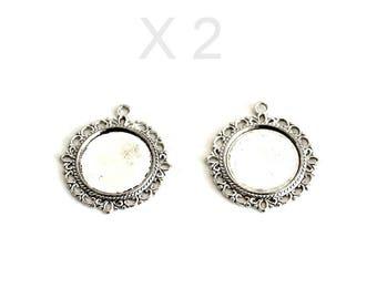 Pendants cabochon in silver X 2 pieces