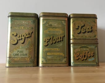 Vintage Set of Tin Cheinco Cannisters - Flour, Sugar, Coffee and Tea - 1970s Kitchenware