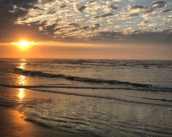 Sunrise Photo- Beach, Sunrise, Sun Reflection, Ocean, Waves