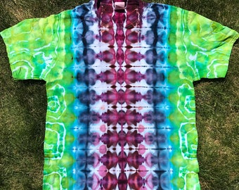 Ice Dye Mirrored Ripple with Geode accents, Tie Dye Red, Purple,Blue, Green Adult Medium shirt