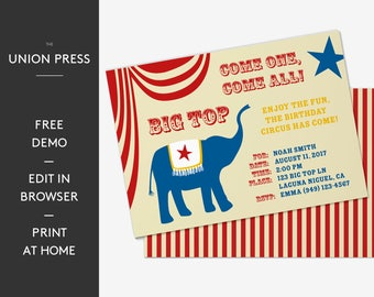 Circus Invitation, Carnival Invitation, Circus Birthday, Carnival Birthday, Carnival Party, Circus Party, Elephant Big Top Invitation