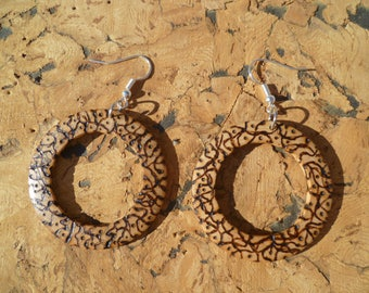 turned wooden pyrographed bopg1 earrings