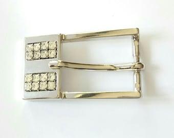 Belt buckle in silver with Rhinestones 4.5 x 2.5 cm