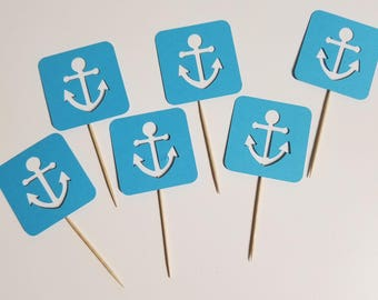Blue Anchor Cupcake Toppers - You Pick Color